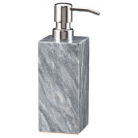 Myrtus Collection Cloud Gray Marble Soap Dispenser, Silver
