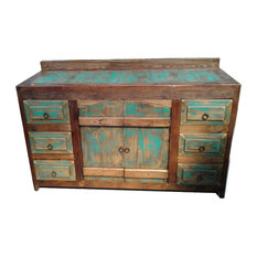 """Rustic Turquoise Arched Doors Bathroom Vanity/Buffet Cabinet, 48""""x22""""x36"""""""