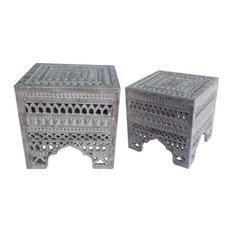 Intricately Carved Square Mango Wood Stool with Set of 2 in Washed White