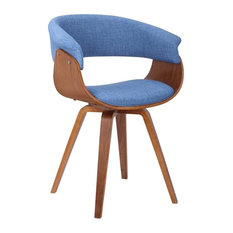 Summer Mid-Century Chair, Blue Fabric With Walnut Wood Finish