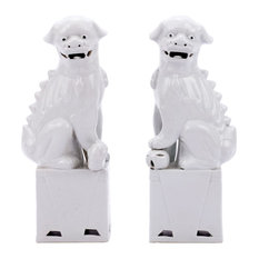 Blue Sitting Foo Dog Handmade Porcelain Statue Pair, Chinese Guardian Bookend, W