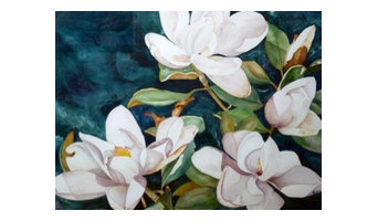 Magnolia Collage Watercolor Painting