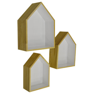 House Scandi Wall Mounted or Free Standing Shelves, 3-Piece Set, Natural and Whi