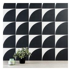 "Tori Crescent 8""x8"" Matte Porcelain Floor and Wall Tile, Black"