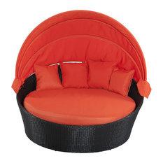 Negin Sofa Bed With Espresso Rattan, Orange