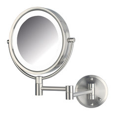 Jerdon Lighted Mirror Direct Wire Nickel Makeup Mirrors