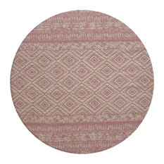 Sunny Round Patterned Area Rug, Pale Pink, 120 cm