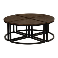 Arcadia Acacia Wood Set of 4 Round Wedge Tables