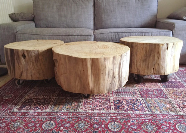 Diy transformer un rondin de bois en table basse roulettes for Table exterieure a roulettes