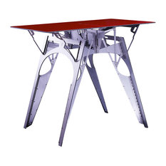Cricket Contemporary Designer Table for 2  Folds Flat, Silver, Red