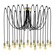 Large Black And Bronze Swag Chandelier