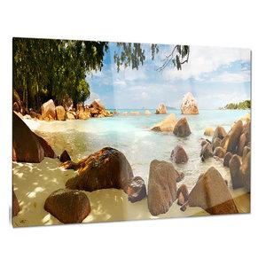 Designart Rocky Praslin Seychelles Panorama Landscape Large Metal Wall Art Disc of 23 23 H x 23 W x 1 D 1P Blue//White