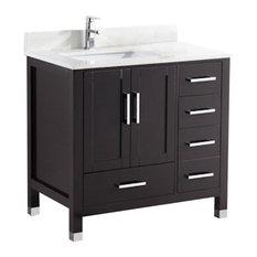 """36"""" Belvedere Modern Freestanding Espresso Bathroom Vanity With Quartz Top"""