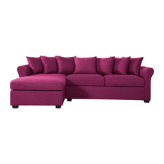 Divano Roma Furniture - Linen Sectional Sofa With Extra Wide Chaise Lounge Purple - Sectional  sc 1 st  Houzz : deep sofa with chaise - Sectionals, Sofas & Couches