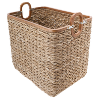 Rectangular Handwoven Storage Basket, Twisted Sea Grass With Wood Frame