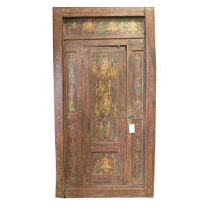 Mogul Interior - Consigned Nritya Ganapati Ganesha Doors Solid Rustic Wood Hand Painted Furniture - Interior Doors
