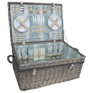 6-Person Deluxe Rope Handled Cream Tartan Fitted Picnic Basket