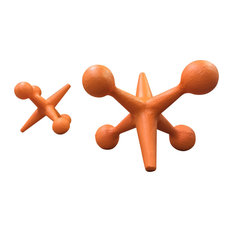 Urban Trading Post - Mid Century Modern Style Cast Iron Jacks Bookends, Set of 2, Orange - Bookends