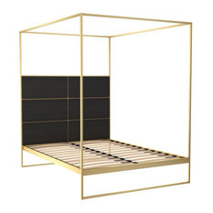 Federico Double Canopy Bed, Black Stained Oak, Brass Base
