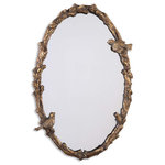 Uttermost - Uttermost 13575 P  Paza Oval Vine Gold Mirror - This frame features a bird and vine design. the finish is distressed, antiqued gold leaf with a gray glaze.