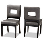 Wholesale Interiors - Faustino Grey Faux Leather Upholster Black Finish Wood 2-Piece Dining Chair Set - Drawing inspiration from geometry, the Faustino dining chair offers a modern update to your home. Constructed from wood, the Faustino is upholstered in a grey faux leather with piping for a tailored look. Plush foam padding provides ample seating comfort. Black legs complement the grey faux leather upholstery and are fitted with non-marking feet to provide floor protection. The Faustino dining chair is made in China and will arrive fully assembled.