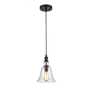 """IRONCLAD, Industrial-style 1 Light Rubbed Bronze Ceiling Mini Pendant, 8"""" Shade"""
