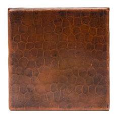 """Hammered Copper Tile, 4""""x4"""", Set of 8"""