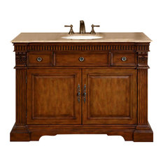 "48"" Traditional Single Sink Bathroom Vanity, Travertine Top, Distressed Finish"