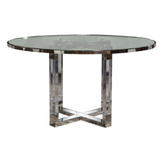 AICO Michael Amini State St. Round Dining Table With Glass Insert