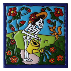 """6""""x6"""" Morning Gardening Day of the Dead Clay Tile"""
