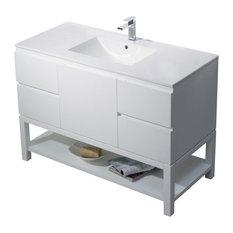 Emmet 49 Vanity, Matte White, White Sink, White Quartz Countertop