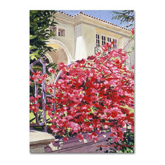 "David Lloyd Glover 'Pink Bougainvillea Mansion' Canvas Art, 14""x19"""