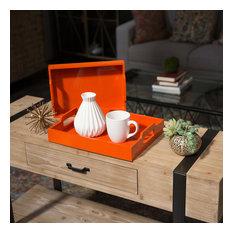 Wood Rectangular Serving Trays, 2-Piece Set, Orange
