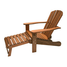 Eucalyptus Adirondack Chair With Built-In Ottoman