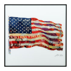"""Old Glory"" Reverse Printed Art Framed With Black Anodized Aluminum"
