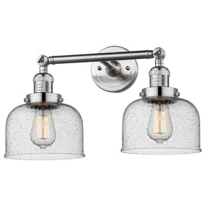 "Brushed Satin Nickel 2-Light 16"" Bath, Vintage Bulbs"