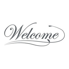 """Welcome Wall Decal, Dark Gray, 59""""x30"""""""