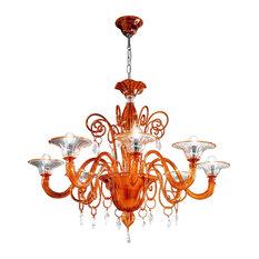 ALBERTO ZANNONI - Alberto Zannoni Murano Glass 8-Arm Chandelier, Orange - Chandeliers