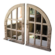 Set of 2 Arched Window Mirrors