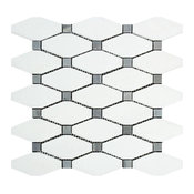 """12""""x12"""" Greek Thassos Polished Marble Octave Mosaic, Blue-Gray Dots, Set of 10"""