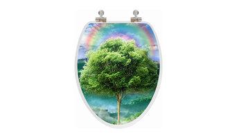 Vario Scenario 3D Elongated Season Trees Regular Close Chrome Hinge Toilet Seat