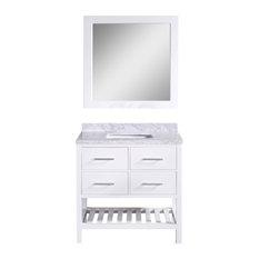 "Design Element - London 36"" Single Sink Vanity Set, White - Bathroom Vanities and Sink Consoles"