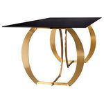 Statements by J - Monique Glass Top Gold Dining Table for 6 - Materials : Glass, stainless steel