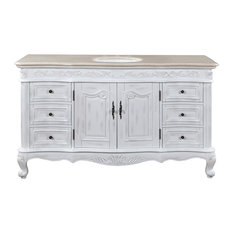 "60"" Traditional Single Sink Bathroom Vanity, Cream Marfil Top, Distressed Finish"