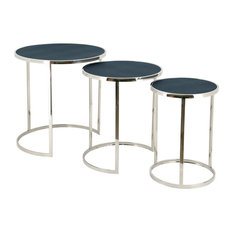 Black on Blue Metallic Shagreen Leather Set of 3 Nesting Console Tables