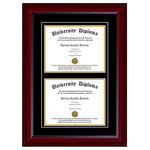 "Perfect Cases, Inc. - Double Diploma Frame with Double Matting, Mahogany, 7""x9"" - Proudly display your achievement with our Double Diploma Frame with Double Matting. This frame comes with your choice of moulding and crystal clear glass protection. We have several hardwood moulding options that have beautiful finishes. This frame also comes with Black over Gold mat board colors. Our last option is with our glass protection. We have standard clear glass and an upgraded Conservation Glass that provides museum quality 99% UV protection."