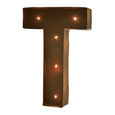 """Rustic Vintage 11"""" Decorative LED Light Glow Letters - Letter T"""