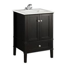 "Chelsea Contemporary Bath Vanity, Black, White Engineered Quartz Marble Top, 25"""