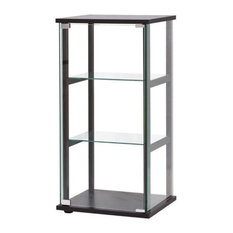 Bowery Hill 3 Shelf Glass Curio Cabinet in Black