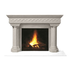 Fireplace Stone Mantel 1110S.555 With Filler Panels, Natural, No Hearth Pad